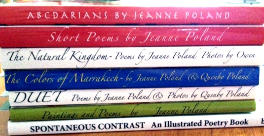 Spine Poem of Jeanne's Poetry Books