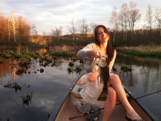 Emily fishes in WStockbridge