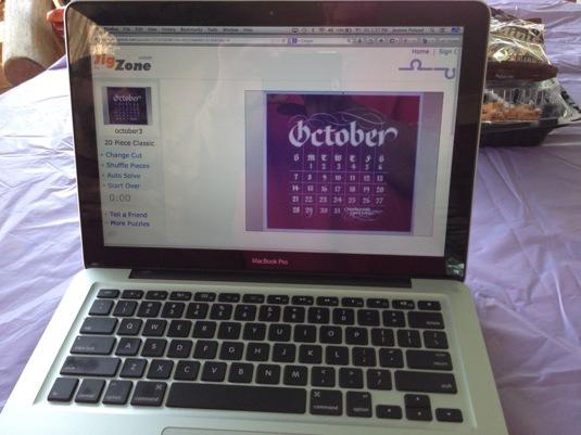 Bob's calendar on bobboyajian.com  made into a puzzle
