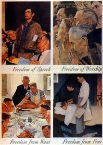 Norman Rockwell The Four Freedoms freedom of speech freedom of worship freedom from want freedom from fear