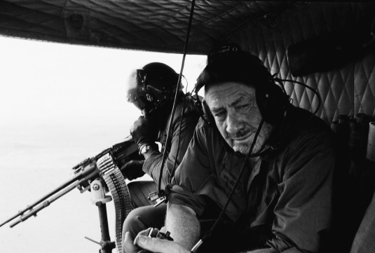 John Steinbeck in helicopter