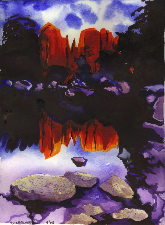 Bell Rock Reflection  watercolor by Jeanne