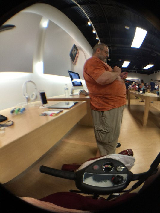 my scooter, Don, and the Apple Store seen through the iPhone6+'s new Ollo lens