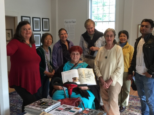 The scribes gather at the Big Eye Gallery to celebrate Cynthia's Book