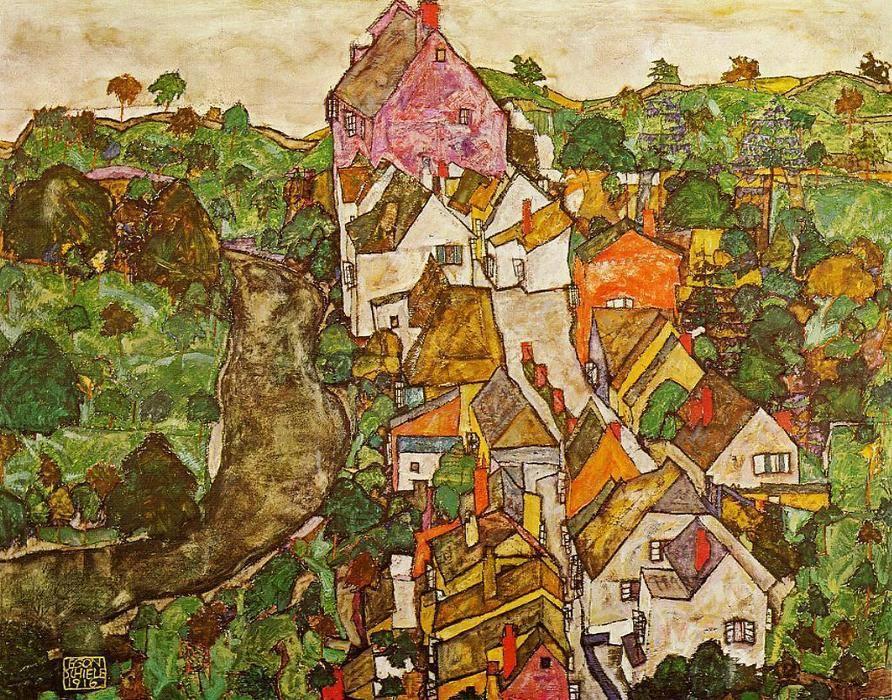 Landscape at Krumau, Egon Schiele, 1916Zoch